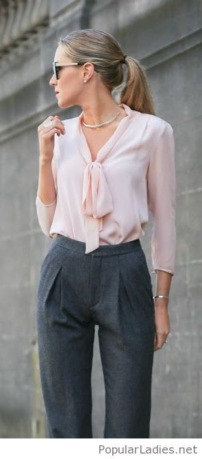 Grey pants and a light pink shirt | Professional work outfit .