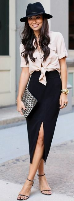 Pink blouse + Pencil Skirt #pink women fashion outfit clothing .