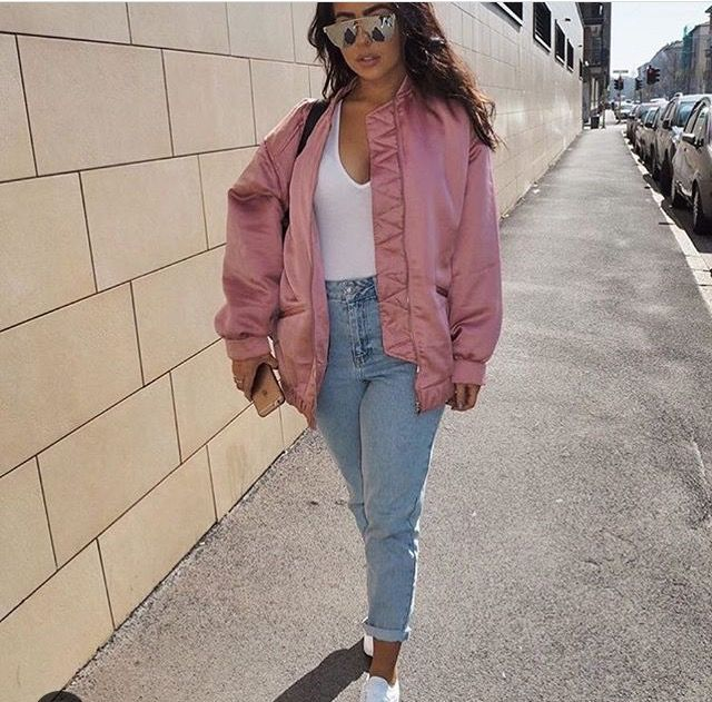 Pink bomber jacket outfit image by Nicki on Outfits ideas | Pink .