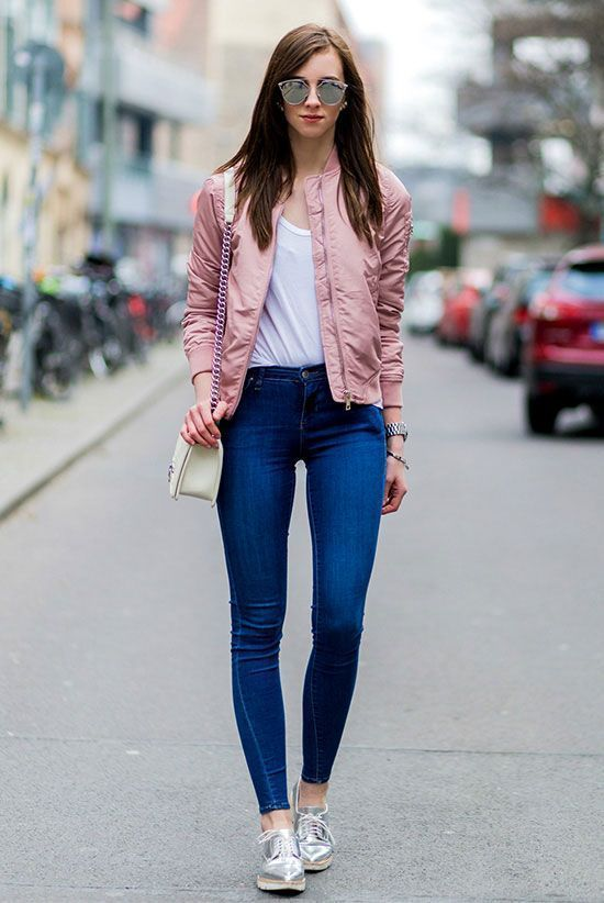 40+ How Wear Silver Shoes Outfits Ideas | Pink bomber jacket .