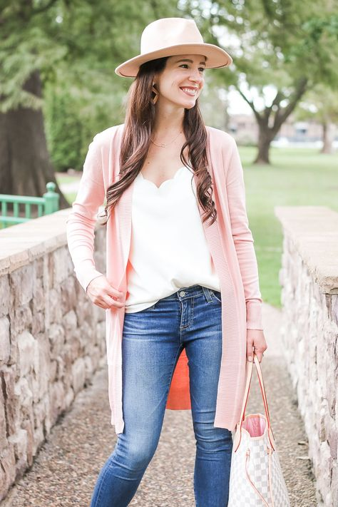 Casual fall outfit idea-- Amazon long pink cardigan styled with a .