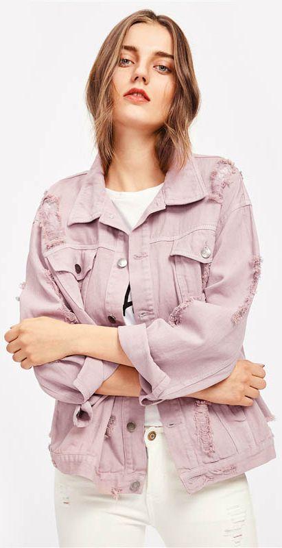 Cameo Pink Denim Jacket | Pink denim jacket, Oversized hoodie .