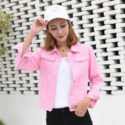 red white pink denim jacket female slim basic coat spring autumn .