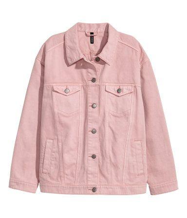 Oversized Denim Jacket | Light pink denim | Women | H&M US | Pink .