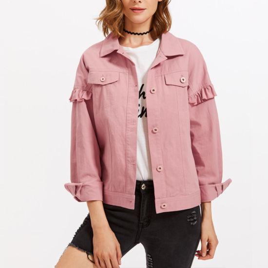 China Women Fashion Drop Shoulder Frill Detail Pink Denim Jacket .
