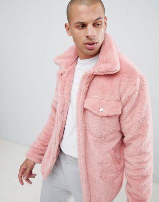 boohooMAN faux fur jacket in pink | Jackets men fashion, Pink fur .