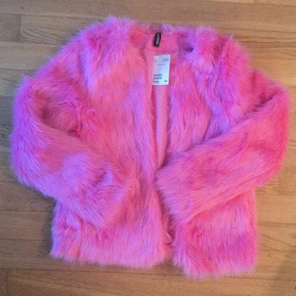 H&M Jackets & Coats | Hm Bubblegum Pink Faux Fur Jacket | Poshma