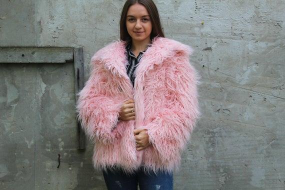 Oversized Pink faux fur coat Mongolian Lamb faux fur coat | Et