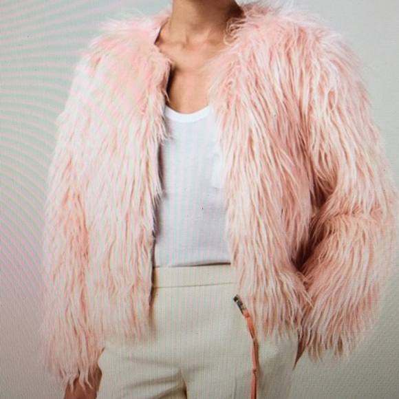 Coach Jackets & Coats | Authentic Pink Cropped Faux Fur Jacket .