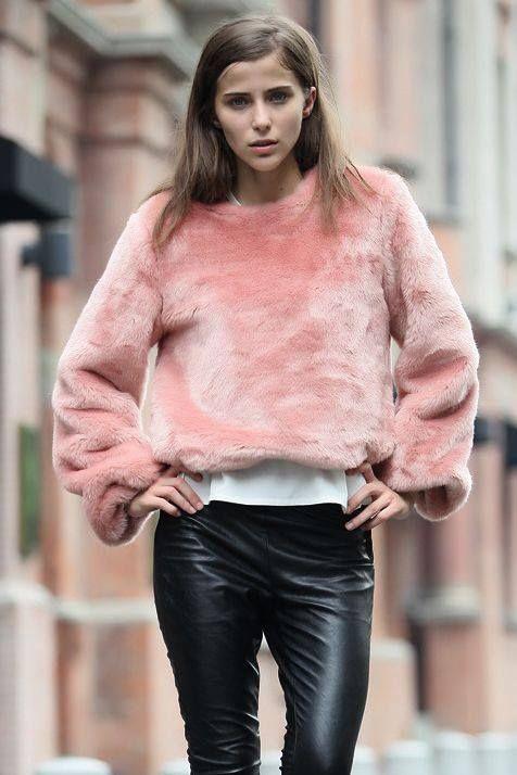 pink fuzzy sweater, leather pants | Fashion, Fur fashion, Faux fur .
