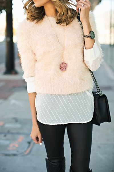How to Style Pink Fuzzy Sweater: 15 Cozy Outfit Ideas for Ladies .