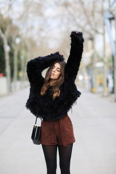 Sweater: dulceida blogger shorts suede brown fuzzy black fluffy .