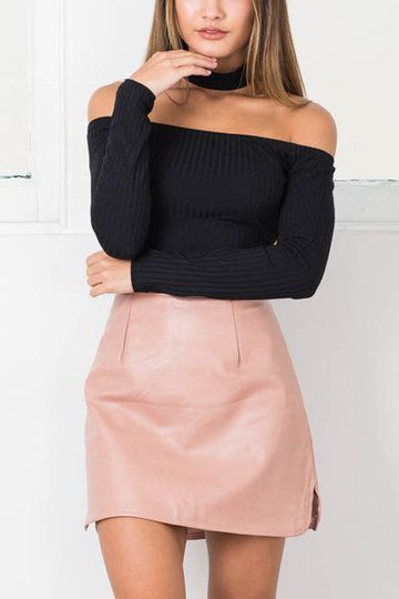 Pink Leather Side Split Mini skirt - US$5.99 | Mini skirts, Pink .