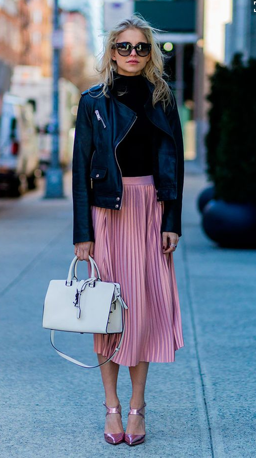Outfit idea, fashion inspiration, leather jacket, pink skirt .