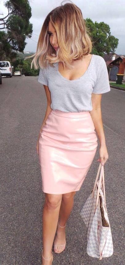 Pink pastel leather skirt and gray tee … | Fashion, Style, Street .