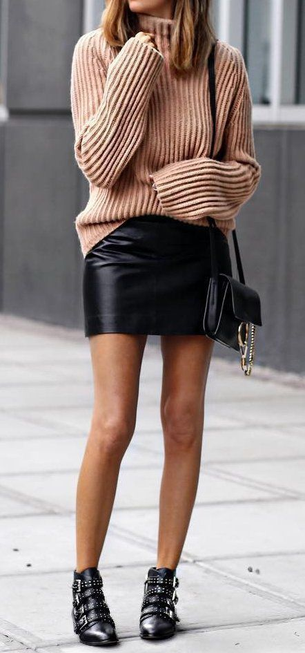 outfit #ideas · Pink Wool Sweater // Leather Skirt // Ankle Boots .