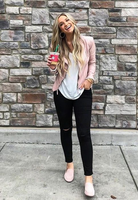 70+ Best Loafer Shoes Ideas for Women | Pink leather jacket outfit .