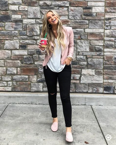 So cute for spring, pink moto jacket and pink loafers | Pink .