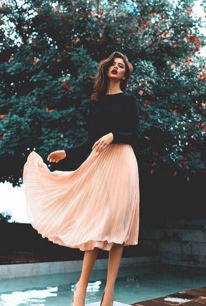 ASOS Midi Skirt In Textured Pleat at asos.com | Simple prom dress .