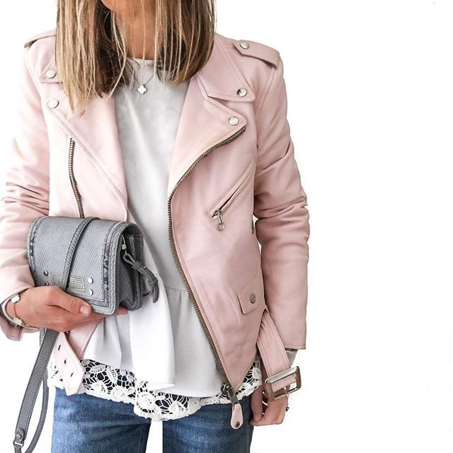 cute pink leather moto jacket although pleather would be better .