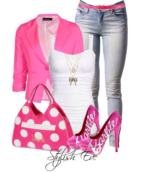 Barbie pink women's fashion outfit idea | Fashion clothes wom