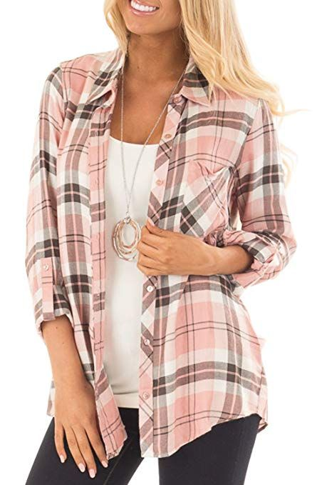 Womens Casual, Cuffed, 3/4 Long Sleeve Plaid Button Down Shirt .