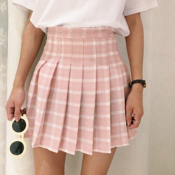 Pink Plaid School Skirt | Pink plaid skirt, Plaid pleated skirt .