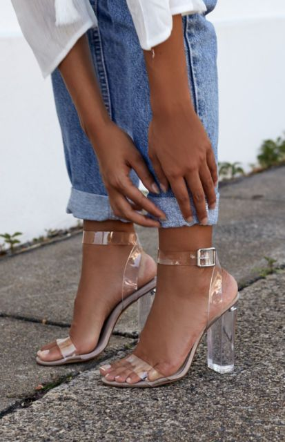 New Clear Heels - The latest style Gemma | Block heels styled with .