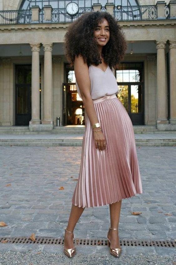 New light pink metallic midi length pleated women skirt metalic .