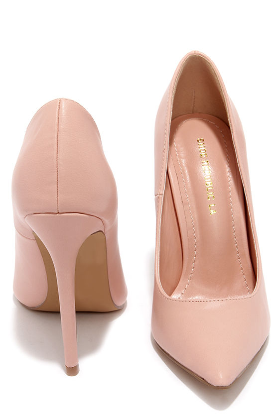 Pretty Pink Pumps - Pointed Pumps - Blush Pink Heels - $34.