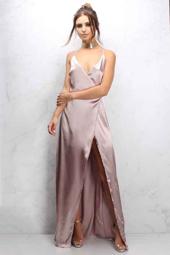 Pink Satin Strappy Maxi Dress | Short satin dre