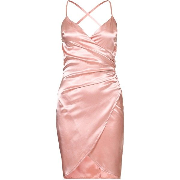 Nly One Wrap Satin Dress ($46) ❤ liked on Polyvore featuring .