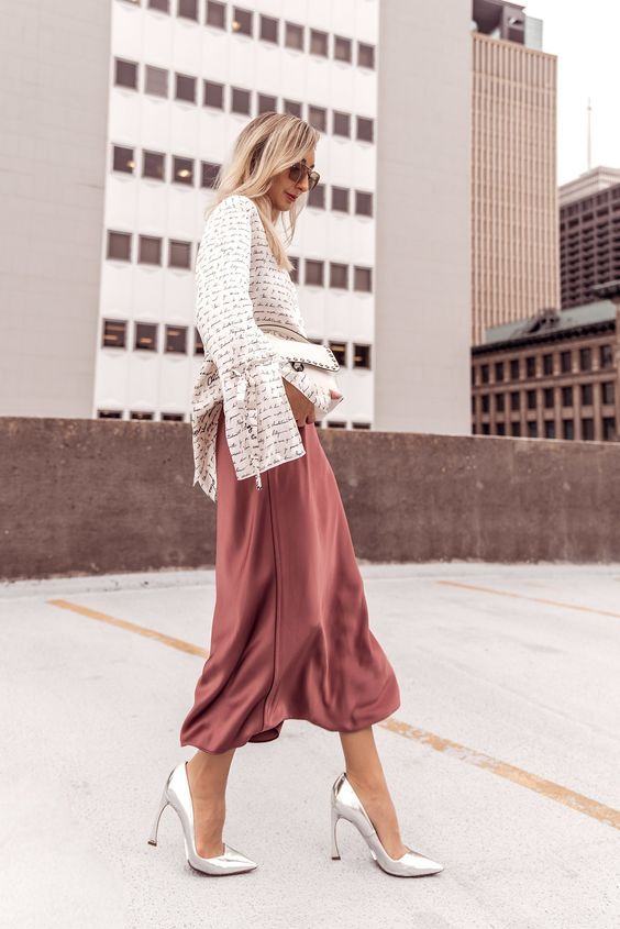 Silk Skirts and How to Wear Them #ootd #outfit #lookideas .