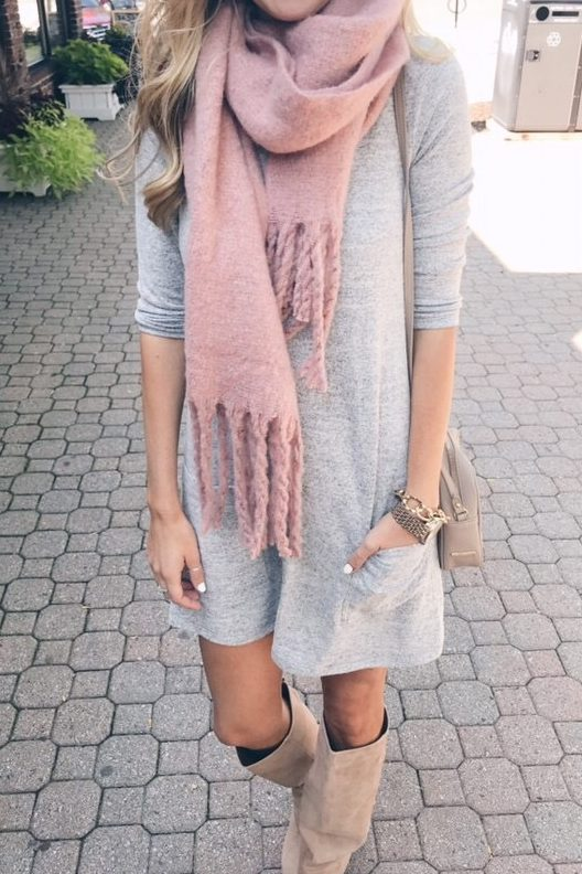 pink-scarf-fall-outfit-idea - Pinteresting Pla