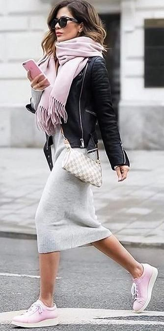 street chic. pink sneakers. fringed scarf. knit dress. leather .