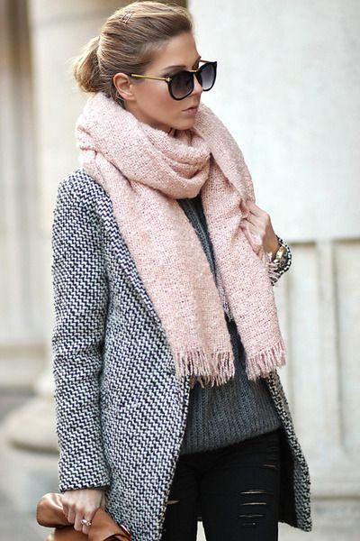 light pink scarf & charcoal gray black and white coat Sheinside .