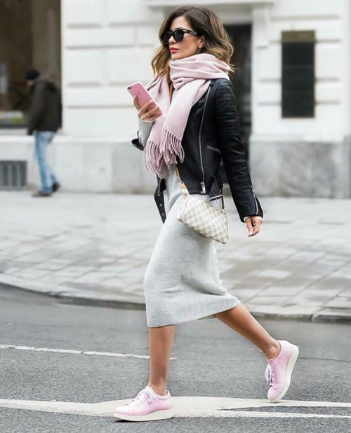 Pink scarf, leather jacket, sweater dress and sneakers for casual .