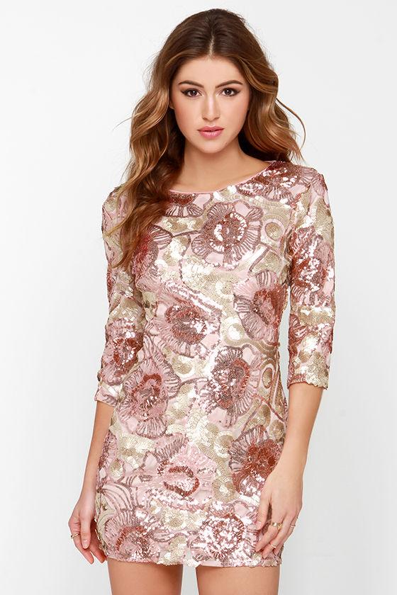 Pretty Pink Dress - Sequin Dress - Rose Gold Dress - $85.