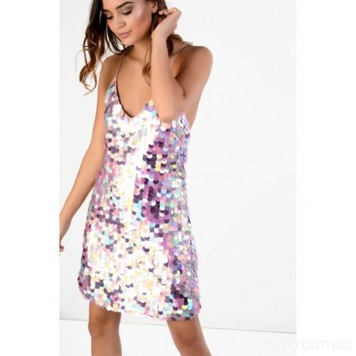 Multi Pink Large Sequin Dress BQLZ