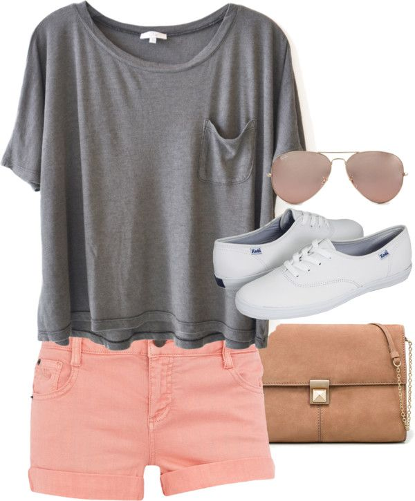 like the colors! big grey shirt + pink shorts + white shoes + .
