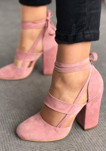 shoes high heels pink straps ballet trendy suede elvia pudra heels .