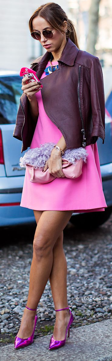 Outfit ideas. Purple leather jacket. Fur clutch. Hot pink dress .