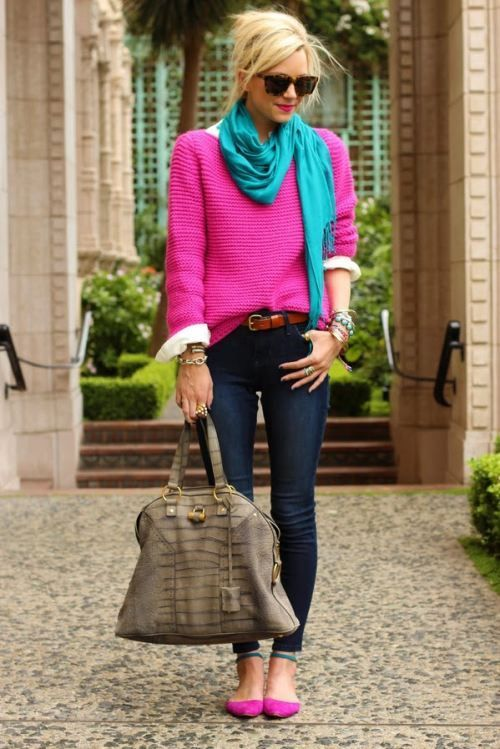 Winter outfits ideas in pop colors | | Just Trendy Gir