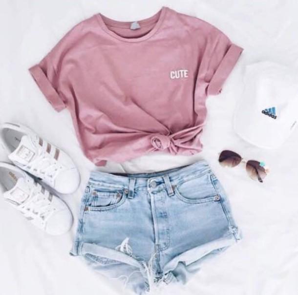 shirt, t-shirt, pink, cute, adidas superstars, adidas, cap, outfit .