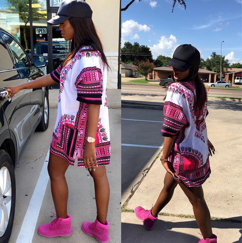 Tiwa Savage slays in her dashiki and pink Timberland boots | Pink .