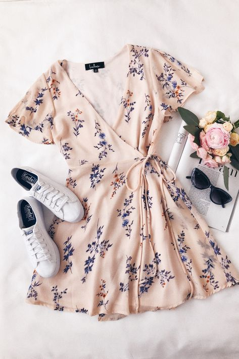 Fowler Blush Pink Floral Print Wrap Dress | Stylish outfits .
