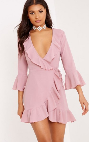 How to Style Pink Wrap Dress: Top 15 Outfit Ideas for Women - FMag.c