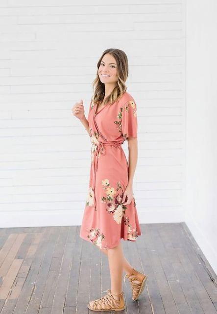 Best dress wrap floral midi 59+ ideas #dress | Pink dress women .