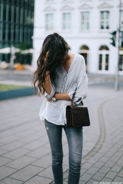 15 Gorgeous Pinstripe Shirt Outfit Ideas for Women - FMag.c