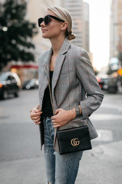 How to Wear Plaid Blazer: 15 Stylish Outfit Ideas for Women - FMag .